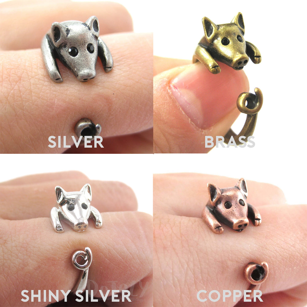 Super Cute Miniature Piglet With Curly Tail Shaped Animal Ring for Animal Lovers