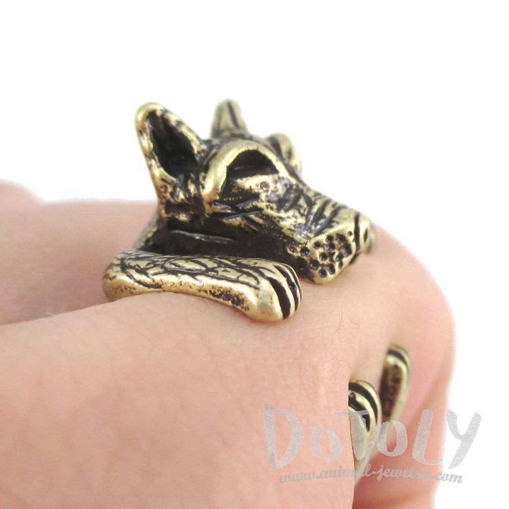 3D Pit bull Dog Shaped Animal Ring in Brass | SALE | Animal Rings