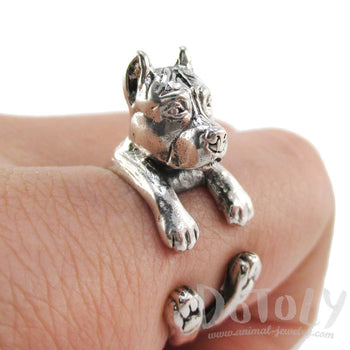 3D Pit Bull Dog Shaped Animal Wrap Ring in 925 Sterling Silver | Sizes 5 to 8.5 | DOTOLY