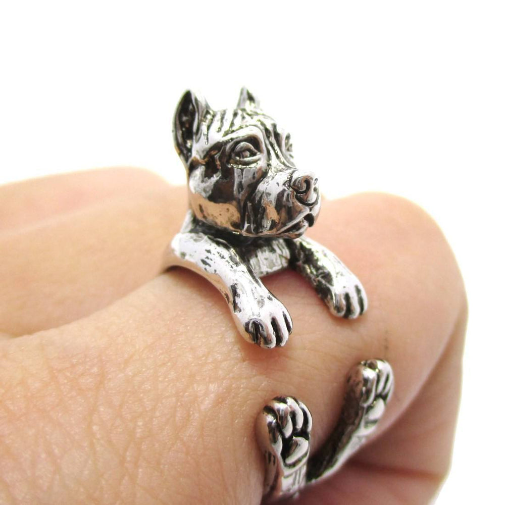 3D Pit Bull With Cropped Ears Shaped Animal Wrap Ring in Shiny Silver | Sizes 5 to 9 | DOTOLY