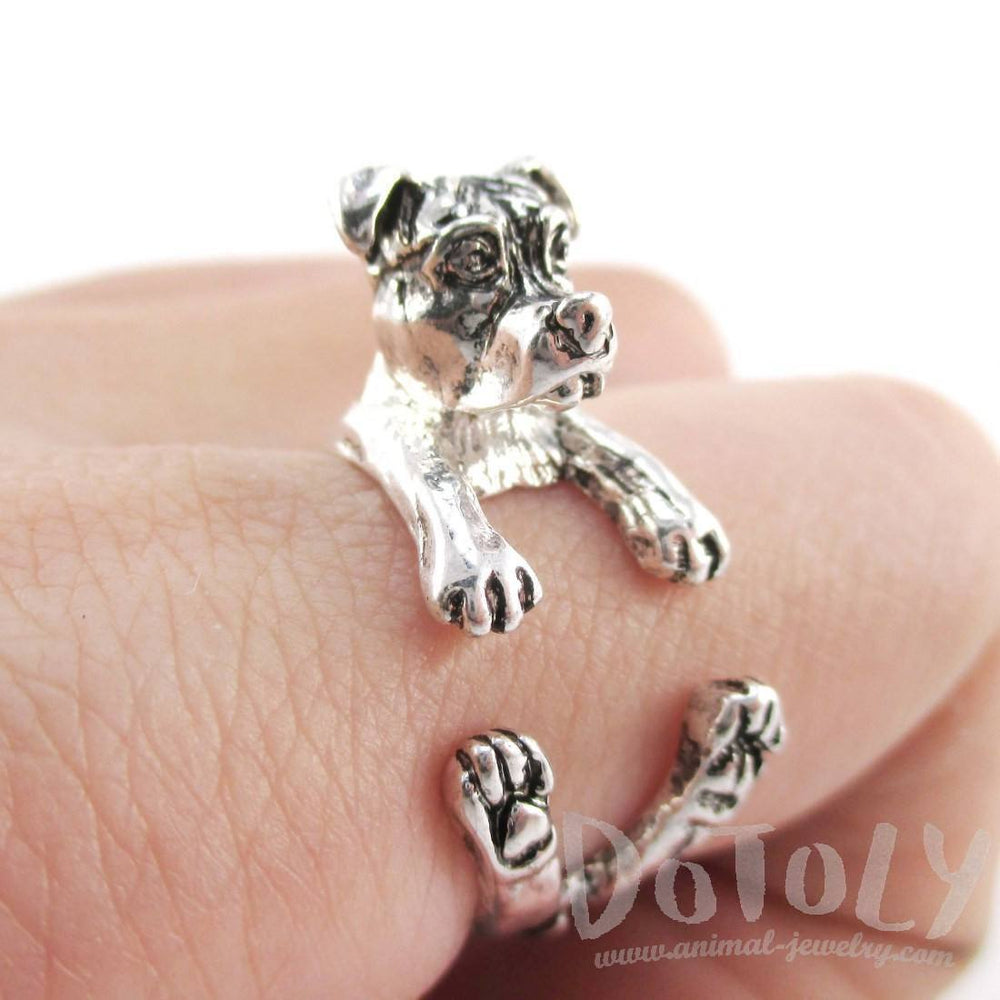 3D Pit Bull With Natural Ears Shaped Animal Wrap Ring in Shiny Silver | Sizes 5 to 8 | DOTOLY