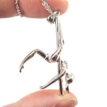 3D Pole Dancer Girl Leg Hang Aerial Dance Themed Necklace in Silver | DOTOLY | DOTOLY