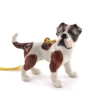 DOTOLY Handmade Porcelain American Bulldog Necklace Ceramic
