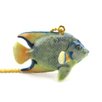 3D Porcelain Tropical Angelfish Shaped Ceramic Pendant Necklace
