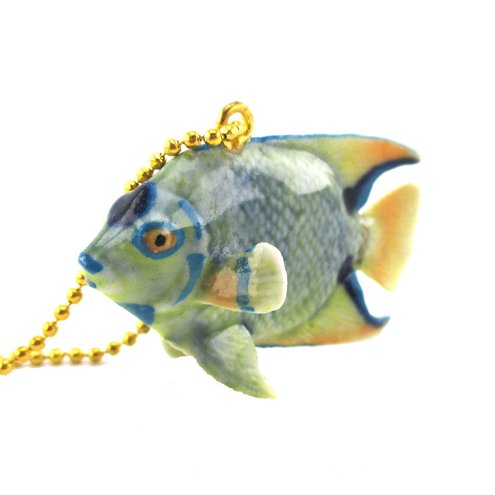 3D Porcelain Angelfish Tropical Fish Shaped Ceramic Pendant Necklace