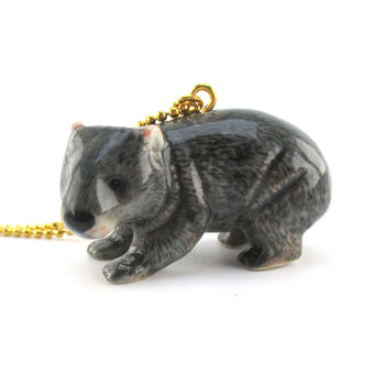 3D Porcelain Australian Wombat Shaped Ceramic Pendant Necklace