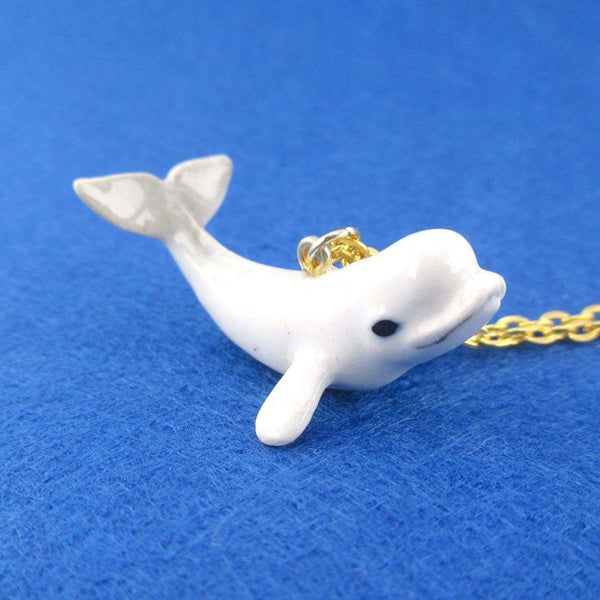 3D Porcelain Beluga Whale Shaped Ceramic Pendant Necklace | DOTOLY