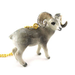 3D Porcelain Bighorn Sheep Ram Shaped Ceramic Pendant Necklace
