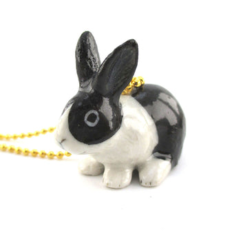 3D Porcelain Black White Bunny Rabbit Shaped Ceramic Pendant Necklace