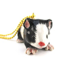 3D Porcelain Black and White Guinea Pig Shaped Ceramic Pendant Necklace