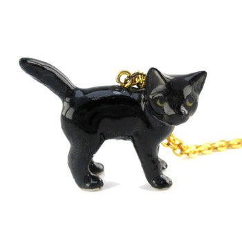 3D Porcelain Black Kitty Cat Animal Inspired Ceramic Pendant Necklace
