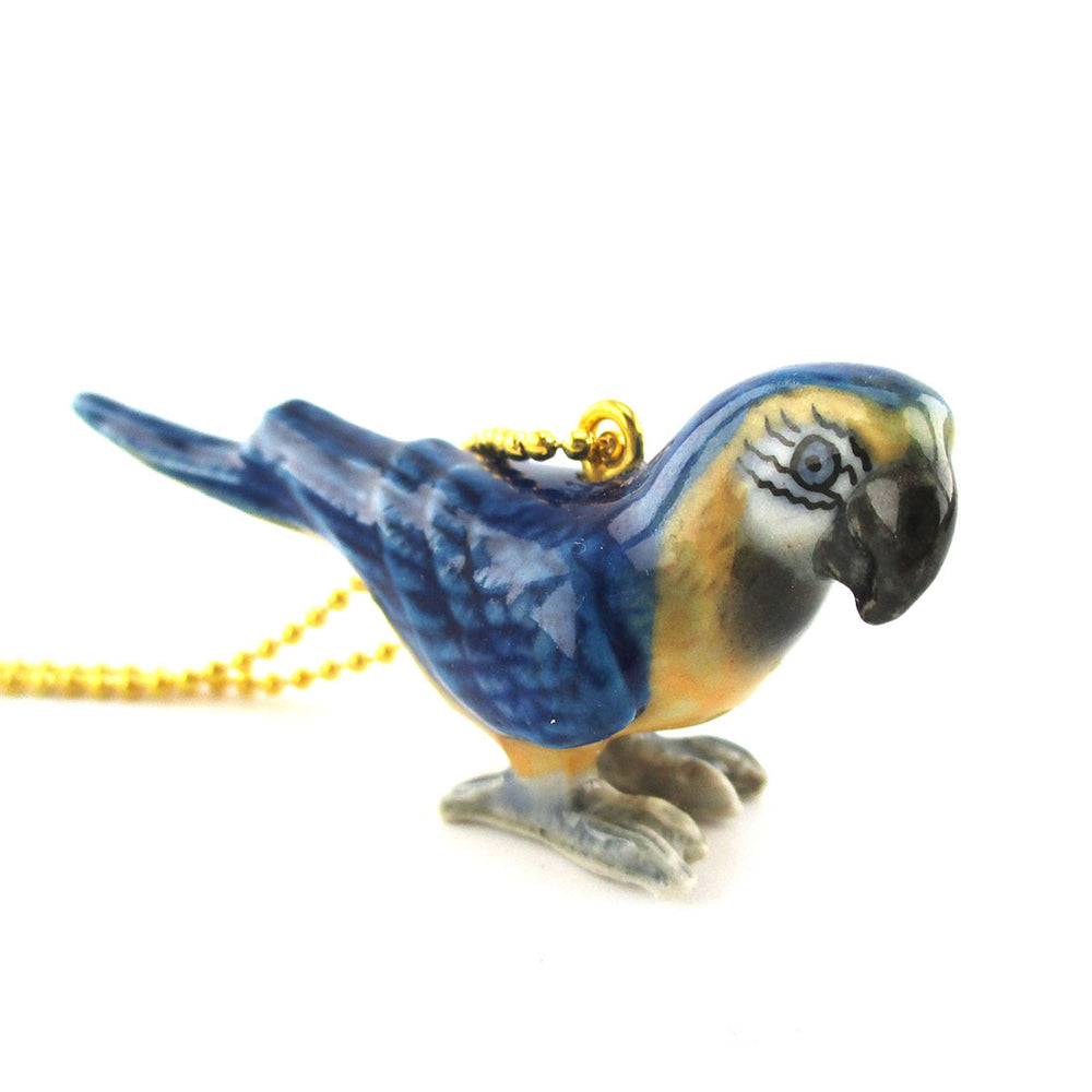 DOTOLY Handmade Porcelain Blue Macaw Parrot Bird Shaped Necklace Ceramic
