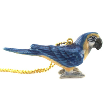 3D Porcelain Blue Macaw Figurine Shaped Ceramic Pendant Necklace