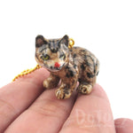 3D Porcelain Bobcat Kitten Lynx Wild Cat Shaped Pendant Necklace