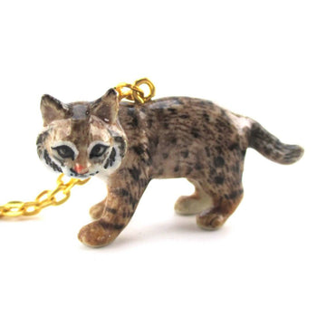 3D Porcelain Bobcat Lynx Cat Shaped Ceramic Pendant Necklace | DOTOLY