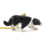 Porcelain Crouching Border Collie Shepherd Dog Pendant Necklace