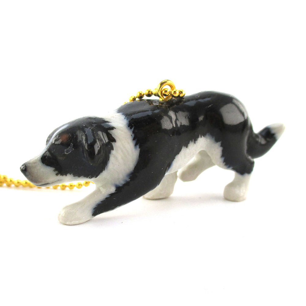 3D Porcelain Border Collie Dog Shaped Ceramic Animal Pendant Necklace