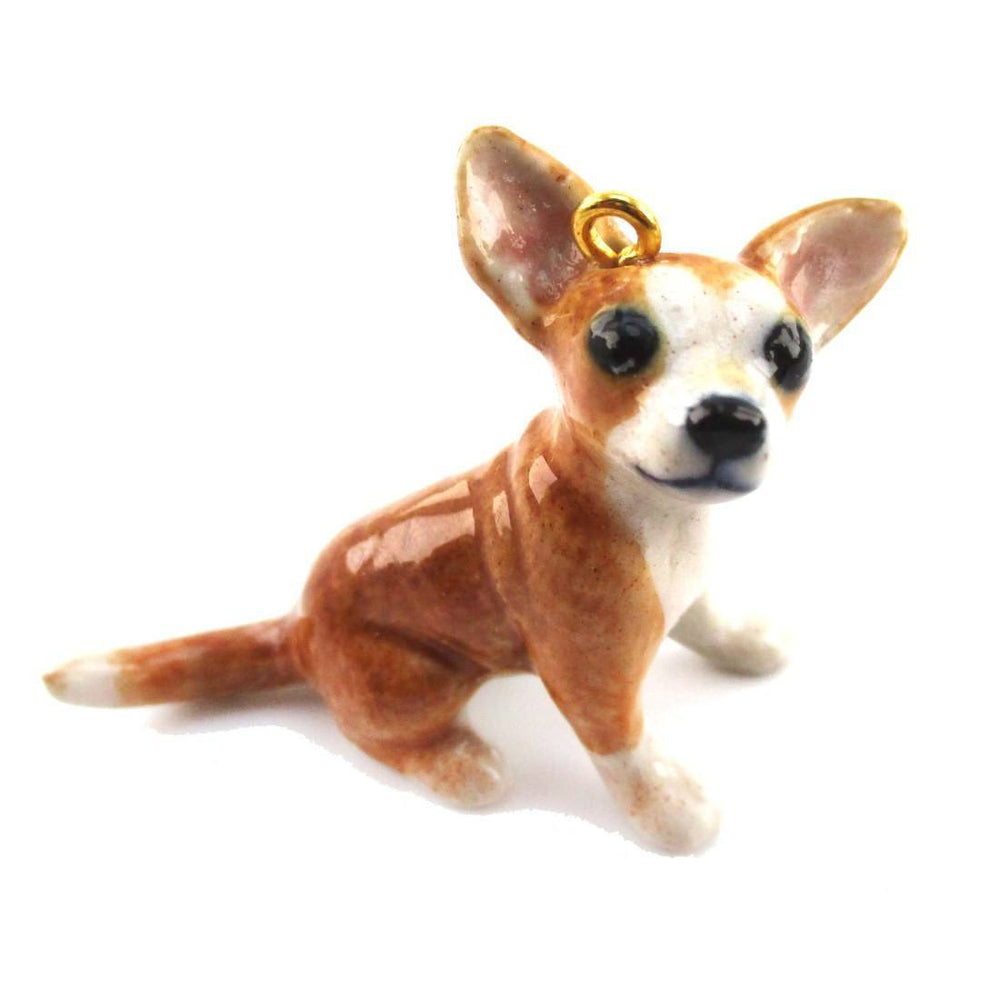3D Porcelain Brown Chihuahua Puppy Shaped Ceramic Pendant Necklace
