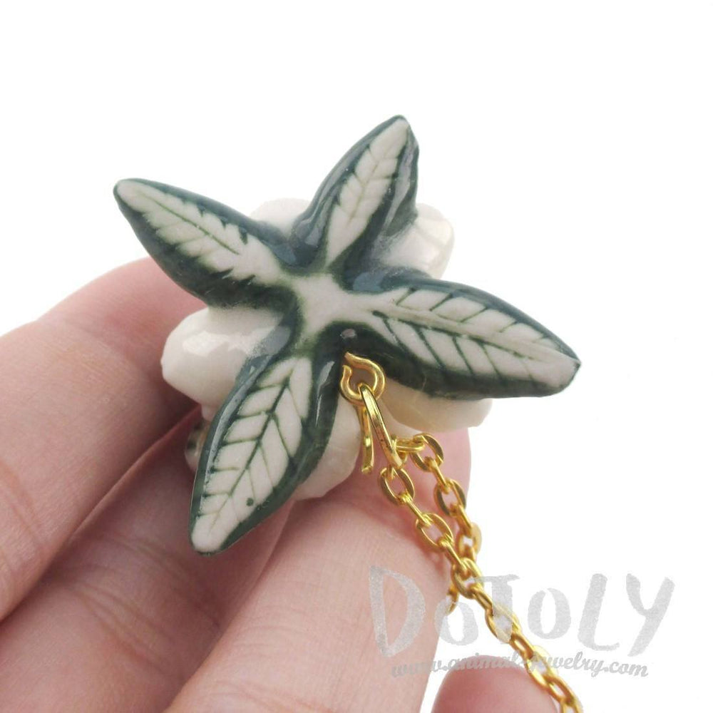 3D Porcelain Bumble Bee on a White Flower Shaped Pendant Necklace