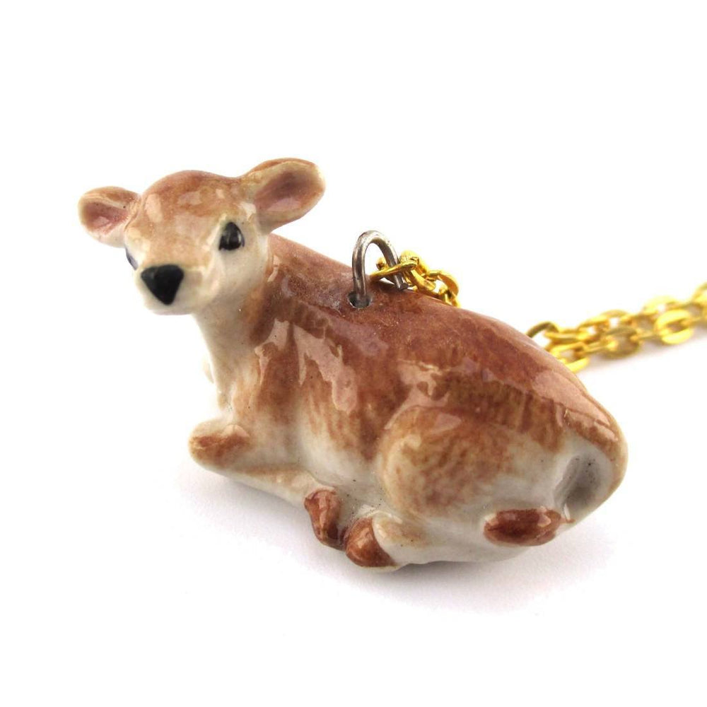 3D Porcelain Cattle Calf Cow Shaped Ceramic Pendant Necklace | DOTOLY