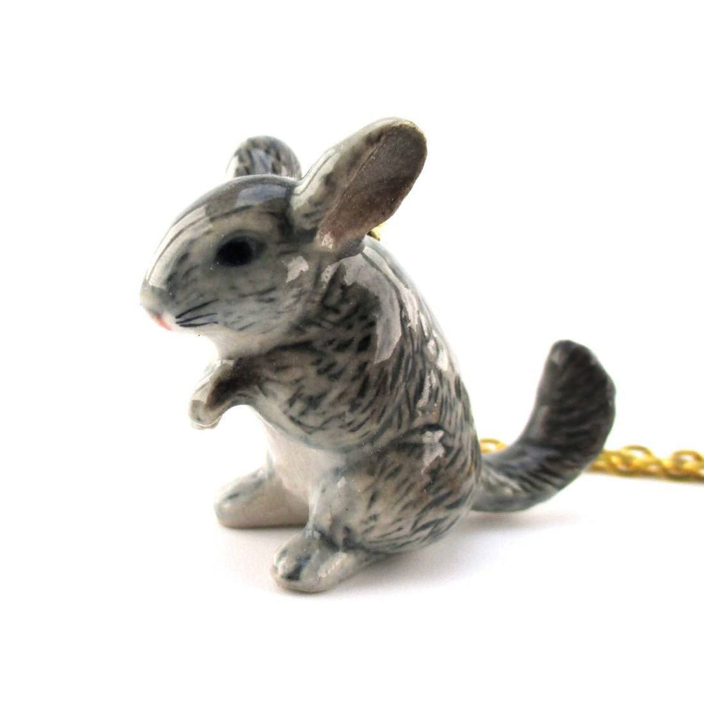 3D Porcelain Chinchilla Shaped Ceramic Pendant Necklace | DOTOLY