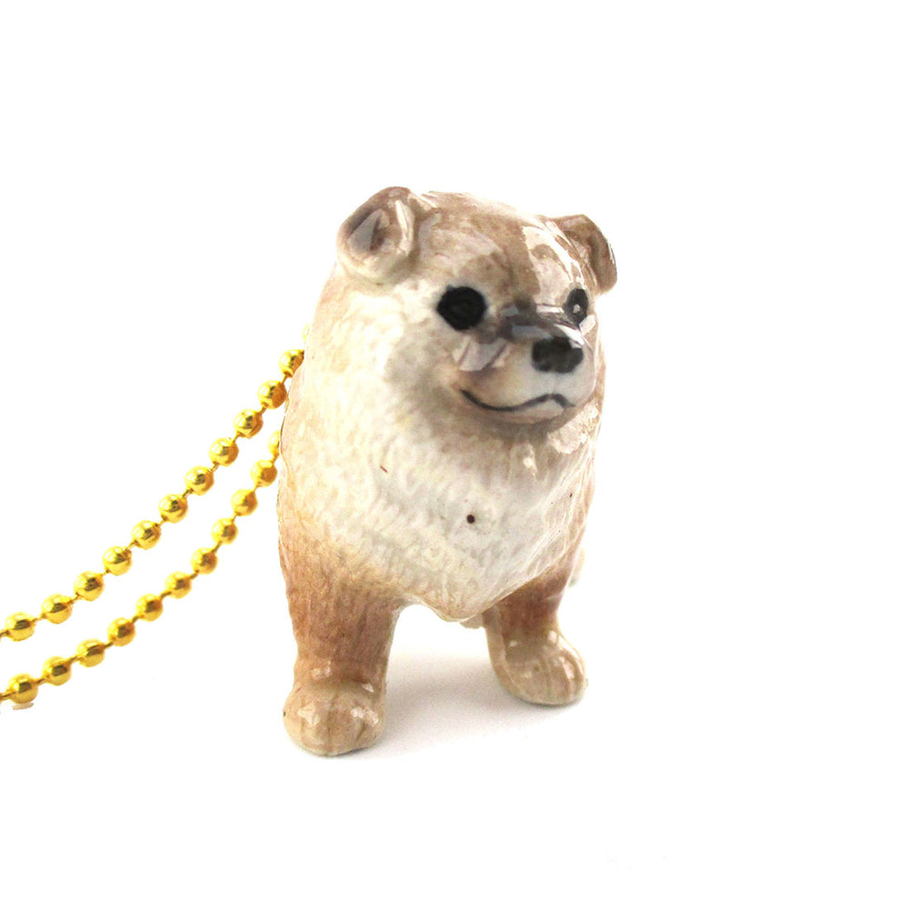 3D Porcelain Chow Chow Pet Dog Themed Ceramic Pendant Necklace