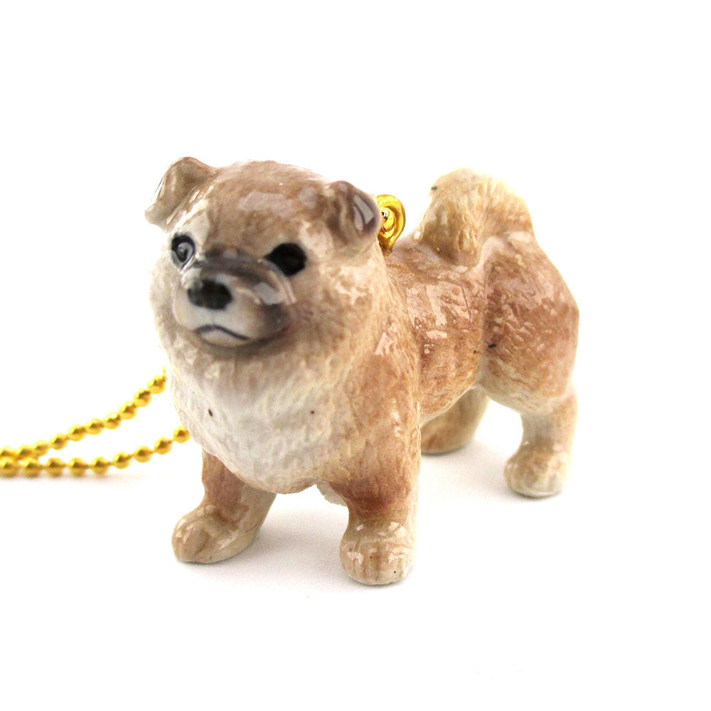 3D Porcelain Chow Chow Puppy Shaped Pet Themed Necklace