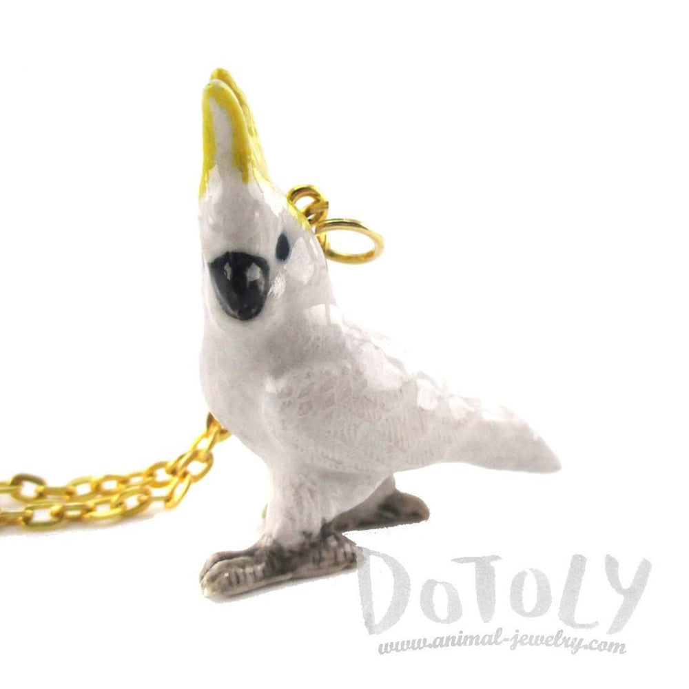 3D Porcelain Cockatoo Parrot Ceramic Pendant Necklace | Animal Jewelry