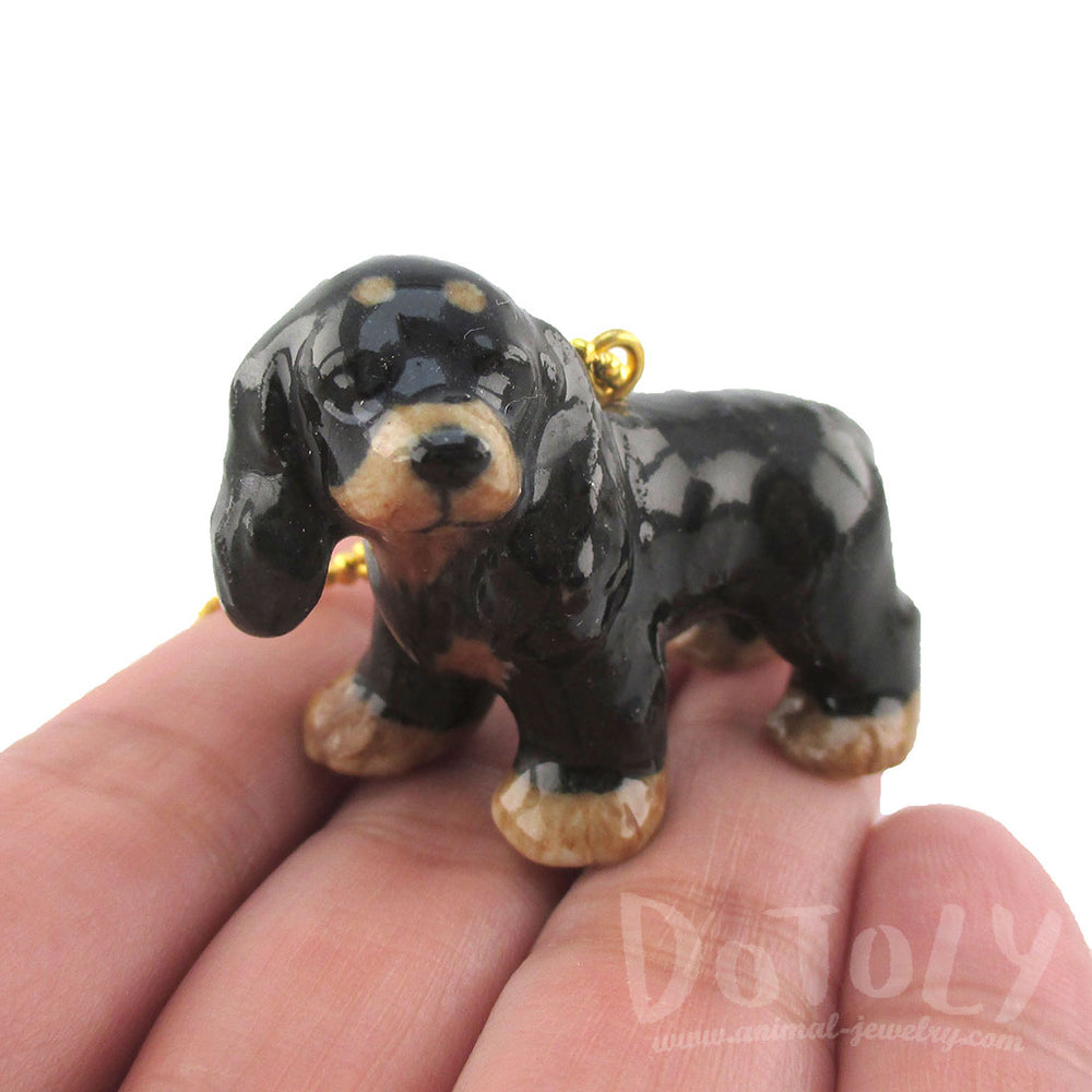 3D Porcelain Cocker Spaniel Pet Dog Themed Ceramic Pendant Necklace