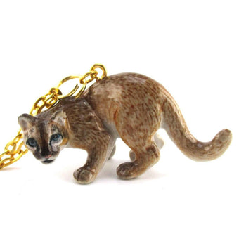 3D Porcelain Cougar Cat Shaped Ceramic Pendant Necklace | DOTOLY