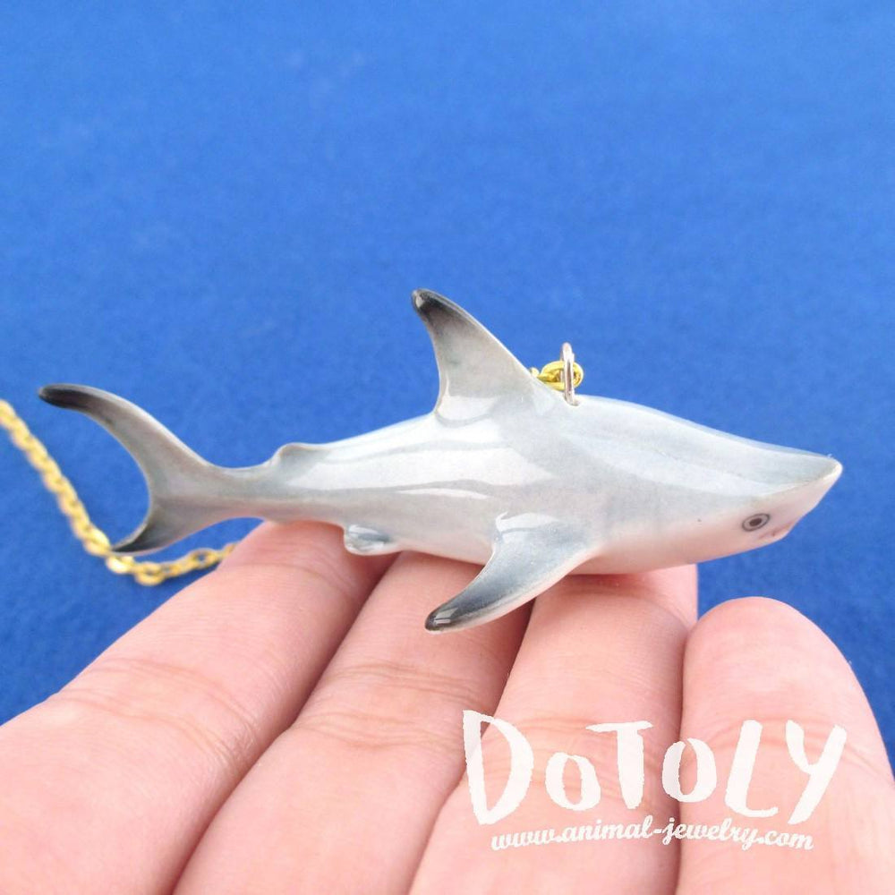 3D Porcelain Dorky Shark Shaped Ceramic Pendant Necklace | DOTOLY