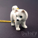 3D Porcelain Eskimo Dog Samoyed Shaped Pet Themed Necklace