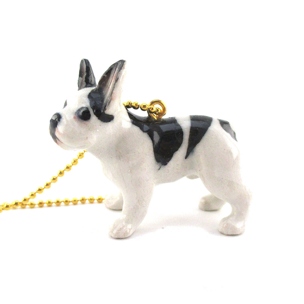 Black and White French Bulldog Pendant Necklace Handmade
