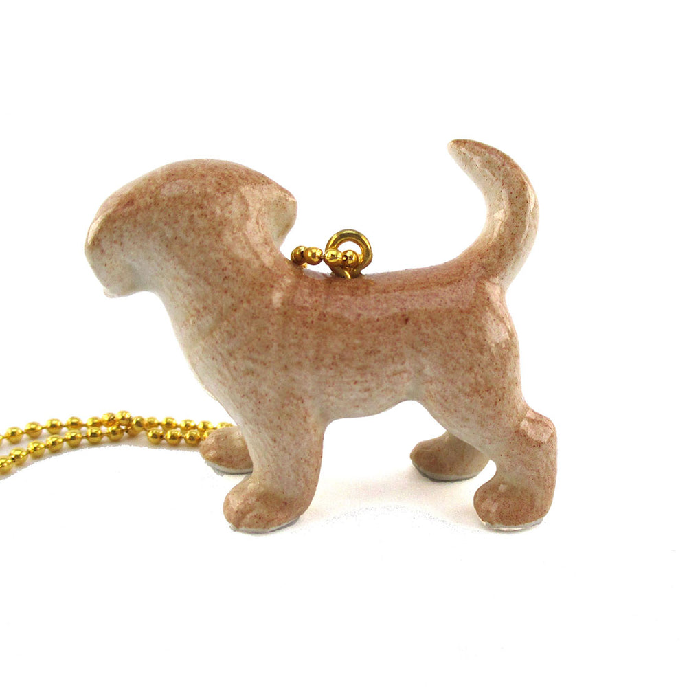 3D Porcelain Golden Retriever Puppy Animal Shaped Ceramic Necklace