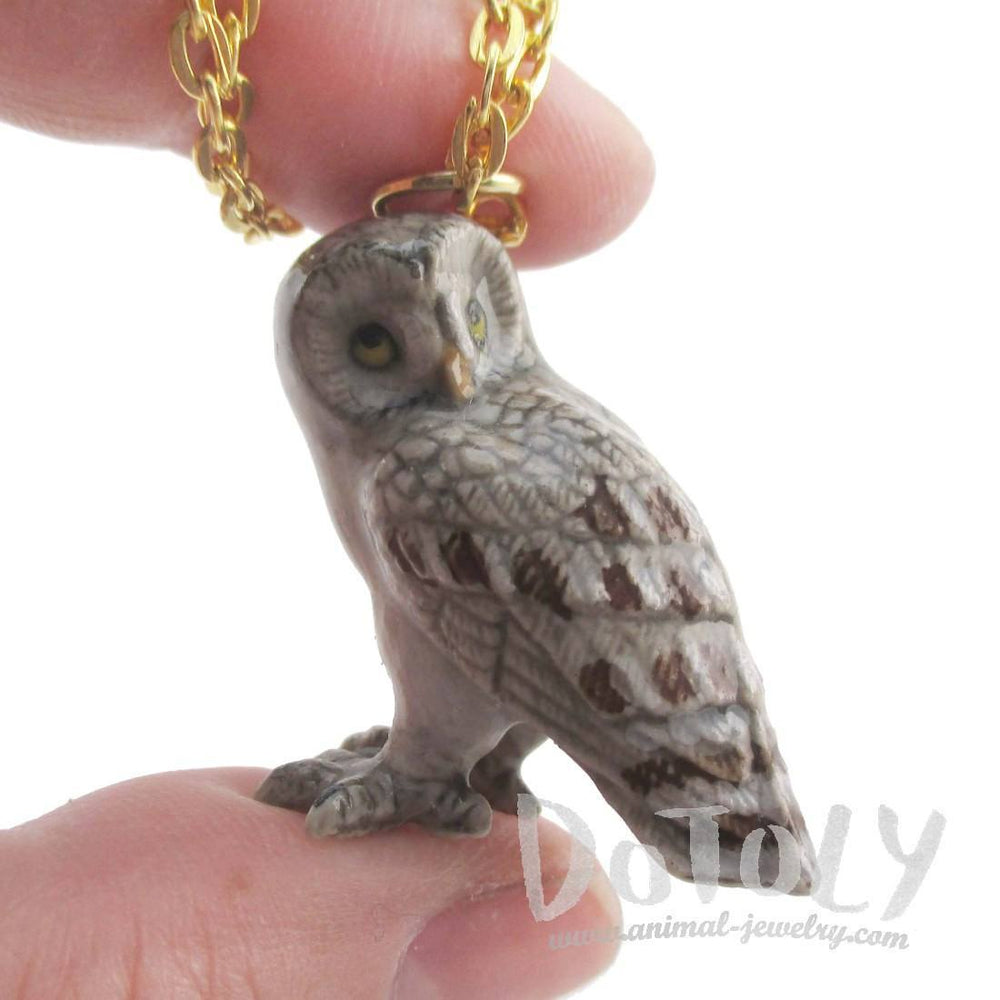 3D Porcelain Great Gray Owl Shaped Ceramic Pendant Necklace | DOTOLY