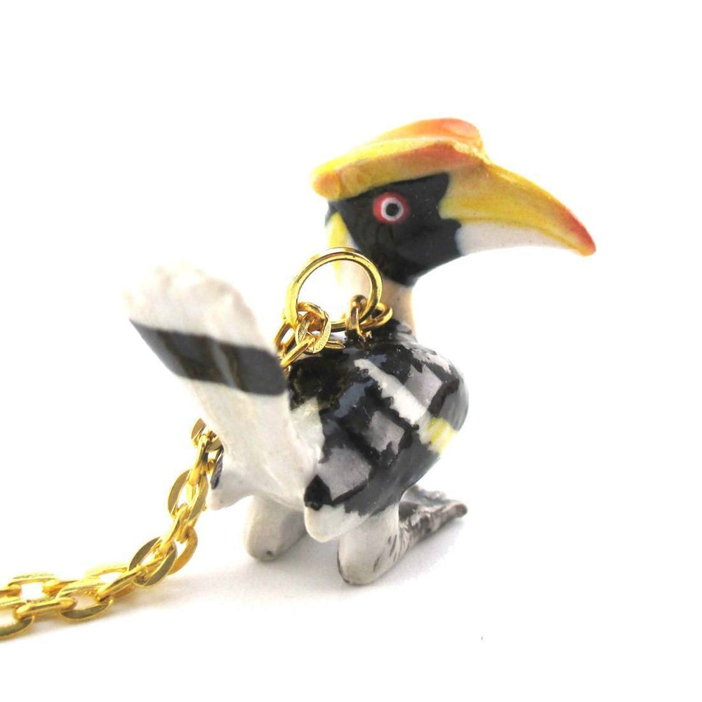 3D Porcelain Great Hornbill Buceros Ceramic Pendant Necklace | DOTOLY