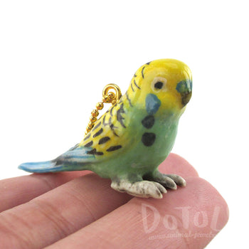 DOTOLY Handmade Porcelain Budgie Parakeet Bird Shaped Necklace Ceramic
