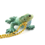 3D Porcelain Green Iguana Shaped Ceramic Pendant Necklace