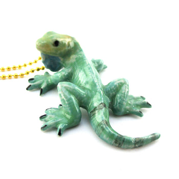 DOTOLY Handmade Porcelain Green Iguana Lizard Necklace Ceramic