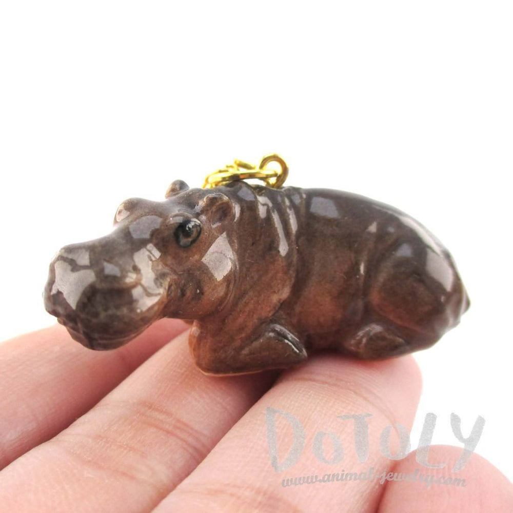 3D Porcelain Hippopotamus Hippo Shaped Ceramic Pendant Necklace
