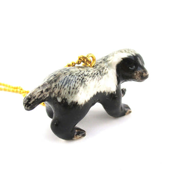 3D Porcelain Honey Badger Shaped Ceramic Pendant Necklace | DOTOLY