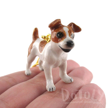 DOTOLY Handmade Porcelain Jack Russell Terrier Dog Inspired Necklace