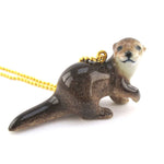 3D Porcelain River Otter Shaped Ceramic Animal Pendant Necklace