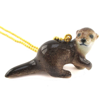 DOTOLY Handmade Porcelain River Otter Cub Baby Ceramic Necklace