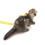 3D Porcelain Long Tail River Otter Shaped Ceramic Pendant Necklace