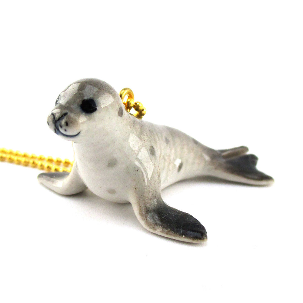 3D Porcelain Monk Seal Sea Lion Shaped Ceramic Pendant Necklace