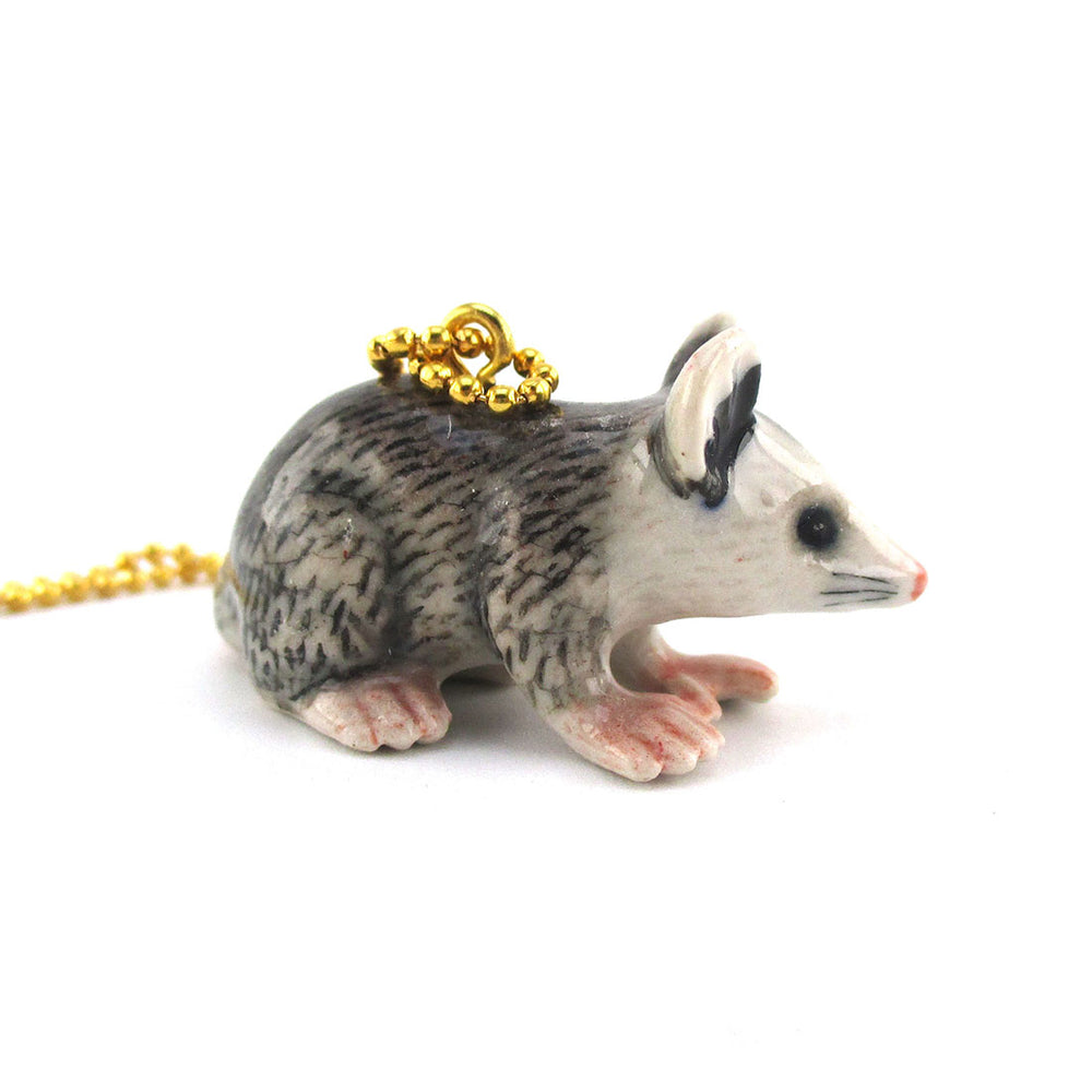 3D Porcelain Possum Shaped Ceramic Pendant Necklace | Animal jewelry
