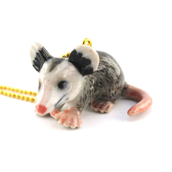 3D Porcelain Possum Mouse Shaped Ceramic Pendant Necklace | Animal jewelry