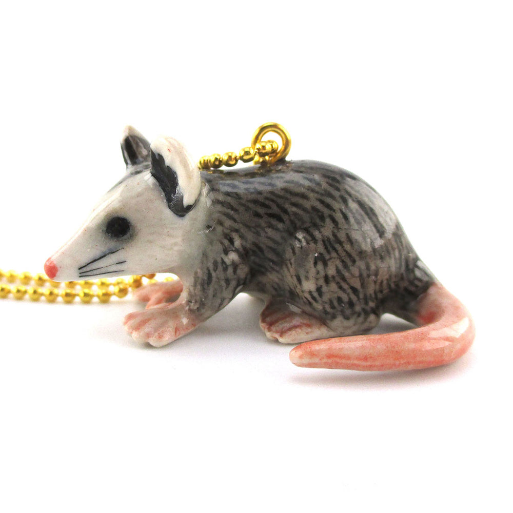3D Porcelain Opossum Shaped Ceramic Pendant Necklace | Animal jewelry