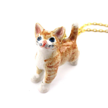 3D Porcelain Orange Ginger Kitten Cat Animal Pendant Necklace